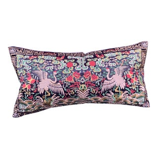 Hollywood Regency Black & Gold Silk Embroidered Cranes Chinoiserie Boudoir Lumbar Pillow For Sale
