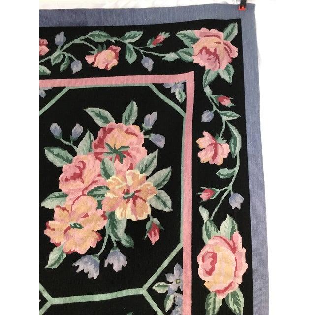 """Cottage Vintage Floral Needlepoint Rug - 8'8"""" X 6'7"""" For Sale - Image 3 of 7"""