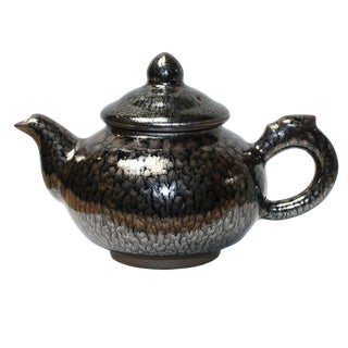 Chinese Handmade Jianye Clay Bronze Black Glaze Decor Teapot Display For Sale