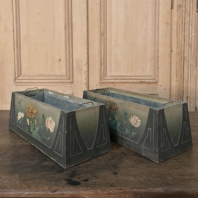 Pair French Art Deco Painted Jardinieres / Planter Boxes For Sale In Dallas - Image 6 of 13