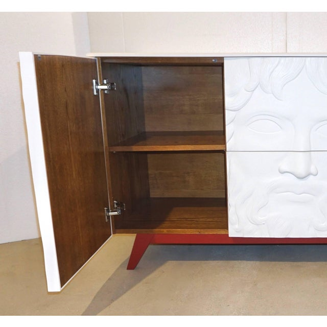 Wood Contemporary Italian White Sideboard or Cabinet With Burgundy Wood Legs For Sale - Image 7 of 11