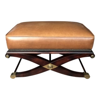 Modern Regency Leather X-Bench Ottoman For Sale