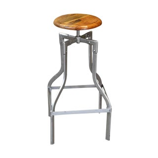 Mid-Century Wooden Seated Stool With Metal Base For Sale