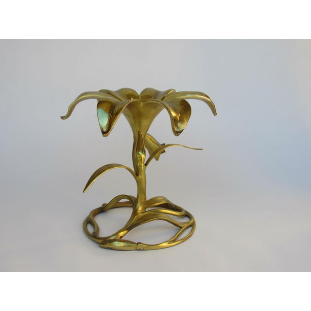 "Hollywood Regency Drexel ""Arthur Court"" Lily Gilded Cast Aluminum Table, 1969 For Sale - Image 3 of 9"