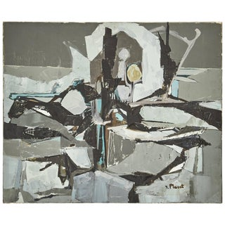 Abstract Gray Painting by Artist Planet Circa 1960 France For Sale