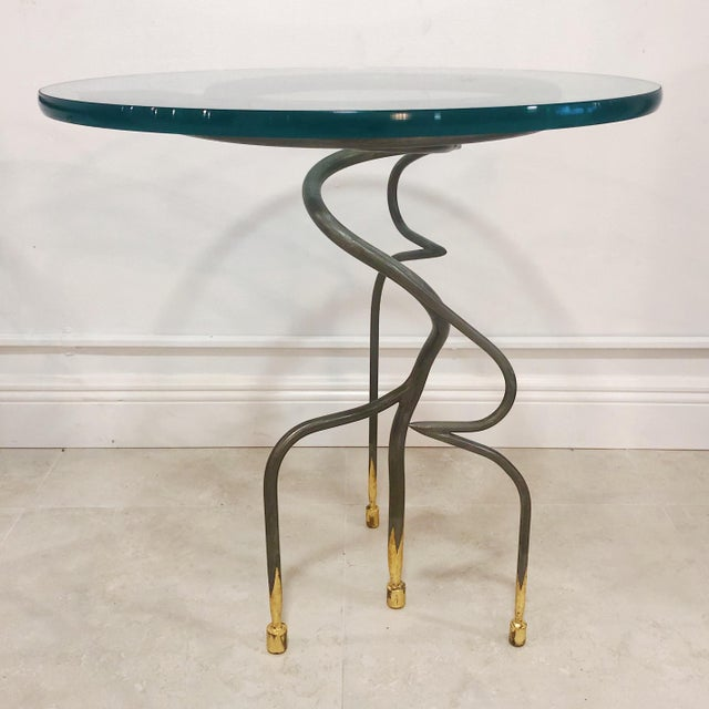 Studio Steel and Gold Leaf Post Modern Sculptural Twist End Tables - a Pair For Sale - Image 4 of 9