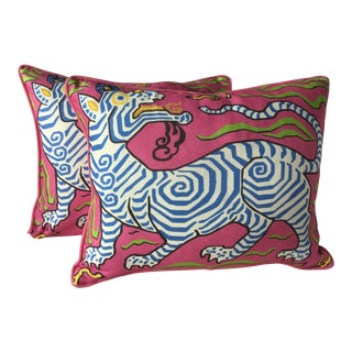 Clarence House Tibet Dragon Hot Pink and Blue Down Filled Pillow - a Pair For Sale