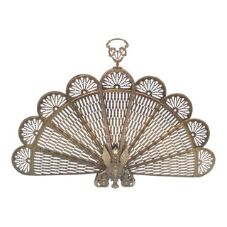 Brass Winged Griffin Fan Firescreen For Sale