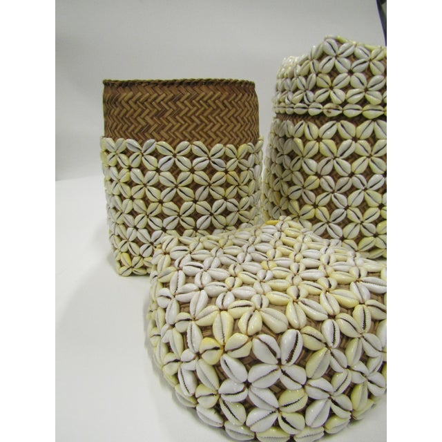 Wood Shell Storage Baskets With Lids From Hawaii - A Pair For Sale - Image 7 of 8