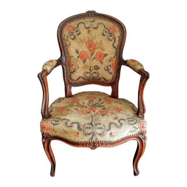 Antique French Louis XV Style Needlepoint Chair - Antique French Louis XV Style Needlepoint Chair Chairish