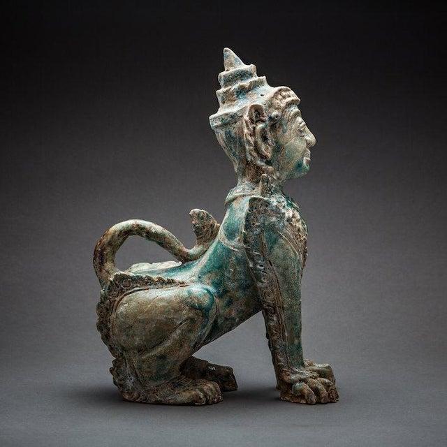 Asian Khmer Glazed Terracotta Sphinx For Sale - Image 3 of 4