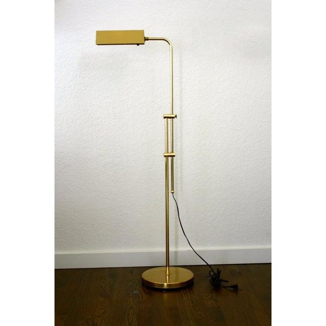 1970s Industrial Brass Pharmacy Floor Lamp For Sale - Image 10 of 10