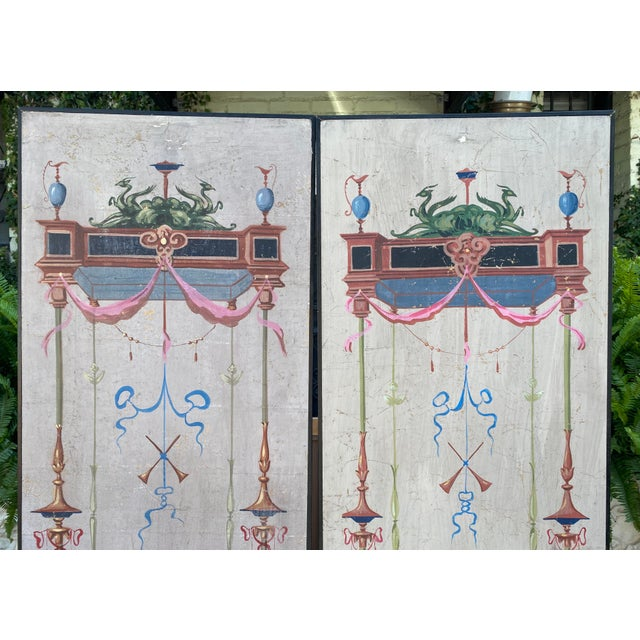 Vintage Handpainted Tromp l'Oeil Neoclassical Panels - a Pair For Sale - Image 4 of 7