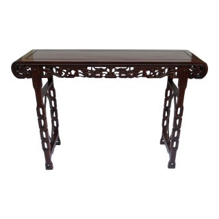 C.1900-40s Antique Asian Chinese Carved Rosewood Alter Table/Console ( Chinoiserie Style ) For Sale