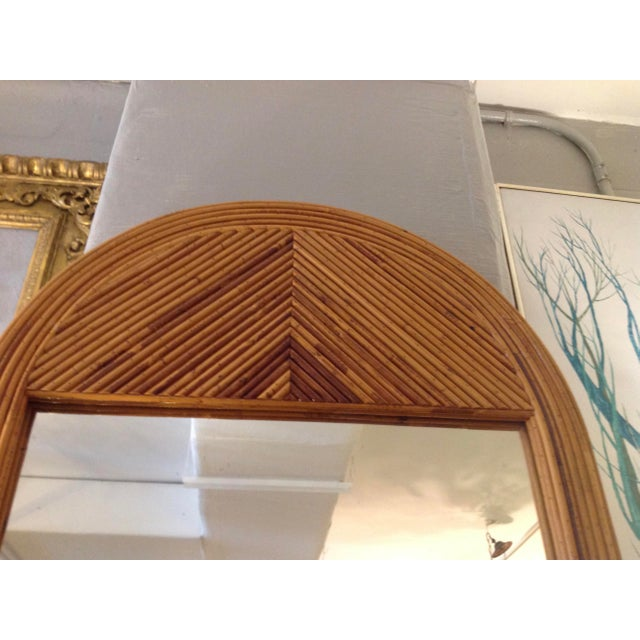 Glass Mid Century Palladian Style Pencil Reed Rattan Mirror For Sale - Image 7 of 10