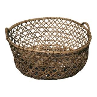 1970s Vintage Boho Chic Rattan Blanket Basket For Sale