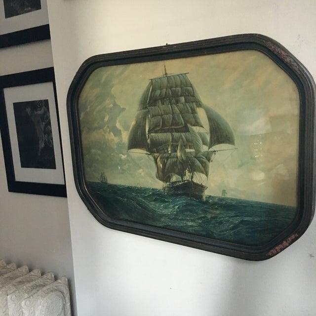 Antique Framed Ship Print For Sale - Image 9 of 11