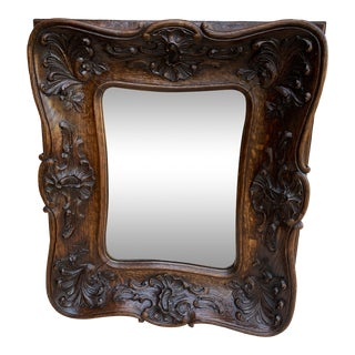 Antique French Rococo Mirror Carved Oak Wood Wall Mirror For Sale