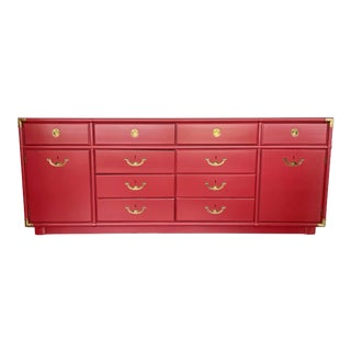 Raspberry Pink Campaign Style Credenza by Drexel. For Sale