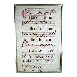 Framed Antique Latin Antiphonal Hymn For Sale