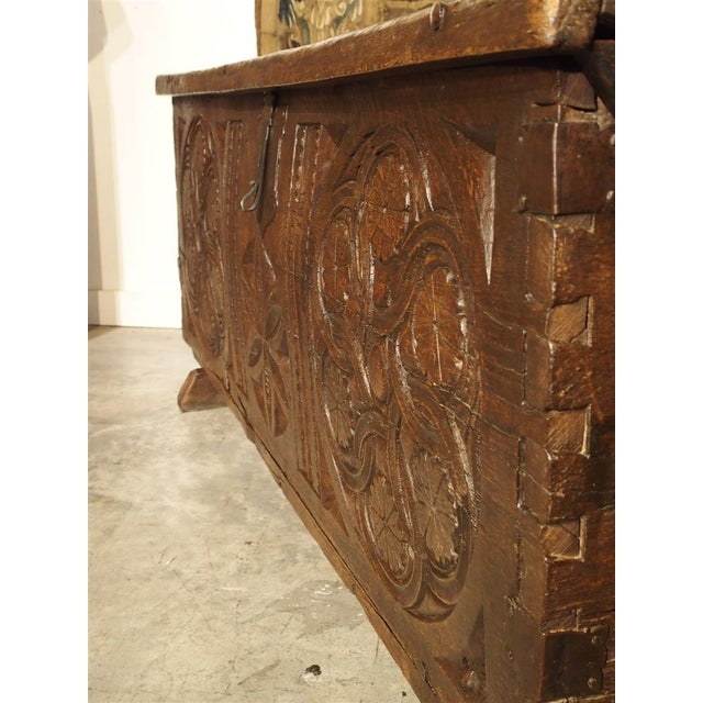 Large Carved Oak Plank Trunk From the Basque Country, Circa 1650 For Sale - Image 4 of 13