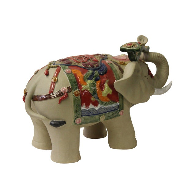 Asian Detail Handmade Ceramic Elephant Trunk Holding Ru Yi & Power Dragon Decor Back Rest For Sale - Image 4 of 7