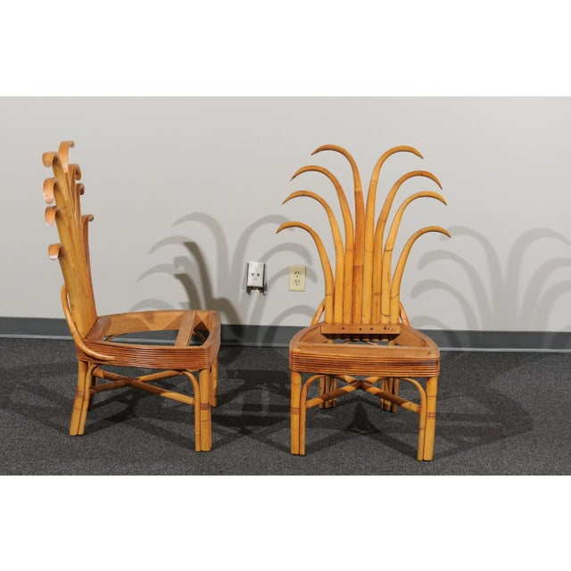 Jaw-Dropping Set of 8 Custom Made Palm Frond Dining Chairs, Circa 1950 For Sale - Image 4 of 13