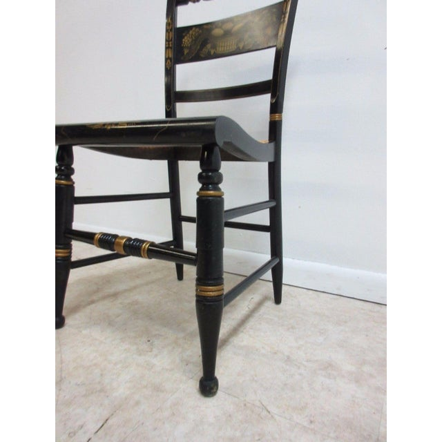 Wood Vintage Hitchcock Style Cane Seat Side Chair For Sale - Image 7 of 10