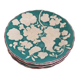 """Antique English Davenport 1860's Majolica Geranium 9"""" Dinner Plates- Set of 4 For Sale"""