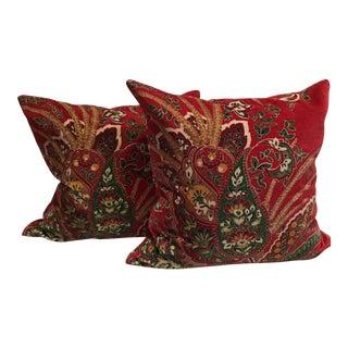Pottery Barn Red Velvet Paisley Pillows - A Pair For Sale