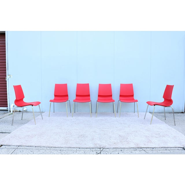 Modern Italian Modern Marco Maran for Maxdesign Red Ricciolina Dining Chairs - Set of 6 For Sale - Image 3 of 13