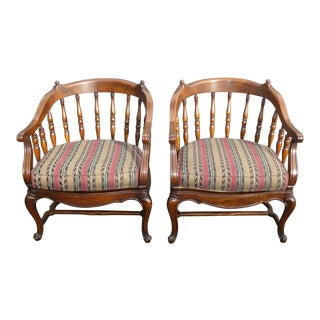 Vintage French Country Red Green Striped Spindle Accent Chairs by Key City- A Pair For Sale