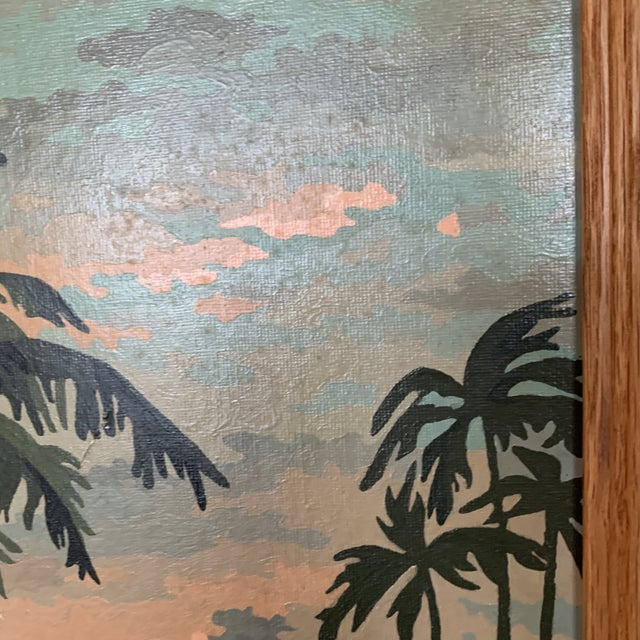 Mid-Century Modern Palm Trees Paint by Numbers in Frame For Sale - Image 3 of 6