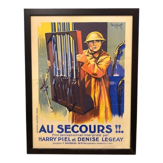"Vintage Framed Original ""Au Secours"" Movie Poster For Sale"