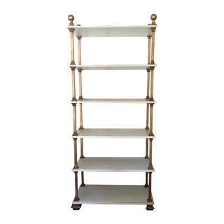 Custom Faux Marble and Iron Bookcase For Sale
