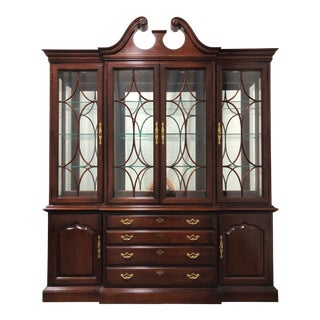 Thomasville Collector's Cherry Monumental Breakfront China Display Cabinet For Sale