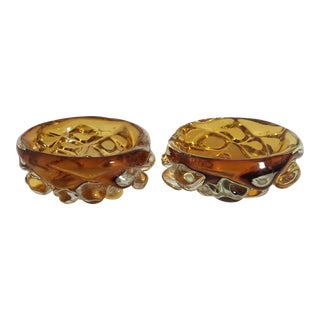 Vintage Amber Bubble Cigar Ashtrays - a Pair For Sale