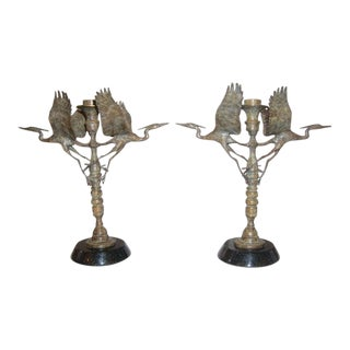 Artisan Ltd Edition Bronze Crane Motif Candle Holders Signed Dm 97 7/200 and 8/200 - a Pair For Sale