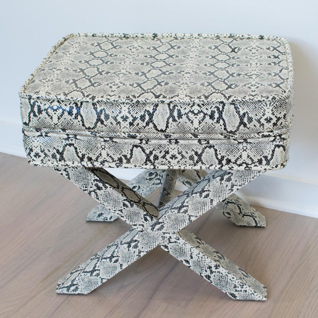 Billy Baldwin Style Python Leather X-Bench Ottoman Footstool For Sale - Image 13 of 13