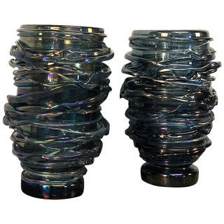 20th Century Bleu Fonce Murano Glass Vases by Pino Signoretto - a Pair For Sale