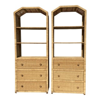 Natural Wicker and Rattan Wrapped Etagères - a Pair For Sale