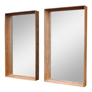 Adze Cut Deep Profile Limed Oak Cerused Oak Frame Mirrors - a Pair For Sale