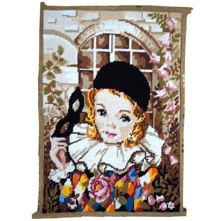 Handmade Vintage French Tapestry 1' X 1.3' For Sale