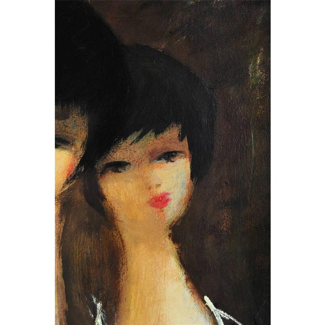 Oil Paint Charles Levier - 2 Women - Mid century Modern - Oil Painting C.1960s For Sale - Image 7 of 9