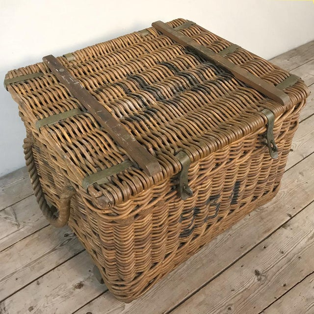 Mid 20th Century Antique Wicker Basket For Sale - Image 5 of 13