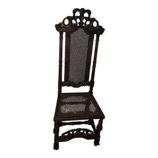 Antique Chinese Hand Carved High Back Chair
