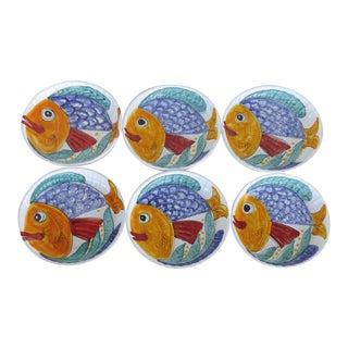 1980's Glazed Italian Ceramic Fish Platter & Plates - Set of 6