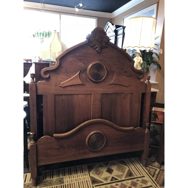 Victorian Walnut & Burlwood Victorian Full Bed For Sale - Image 9 of 9