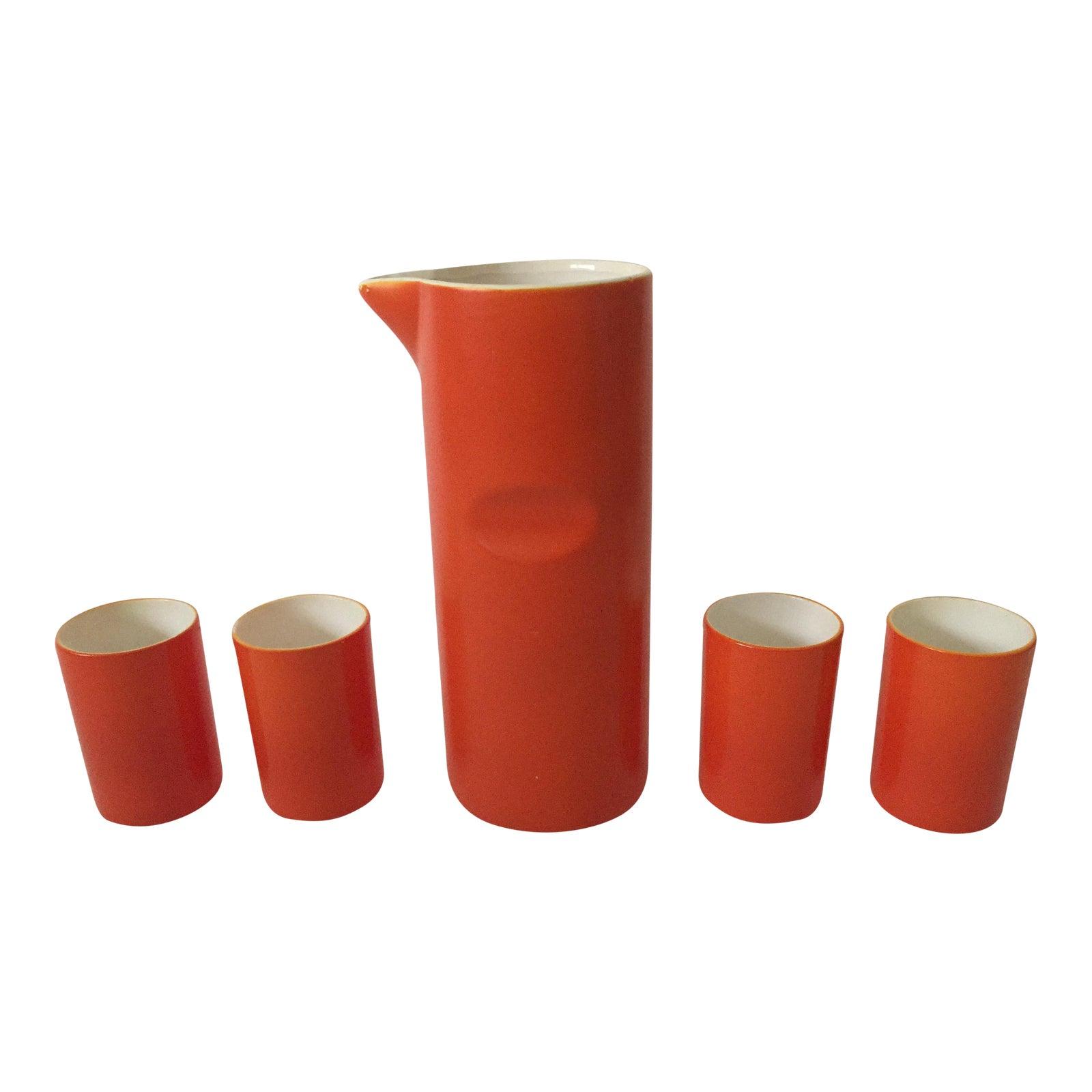Mid-Century Modern Japan Orange Enamel Ceramic Decanter Carafe & 4 ...