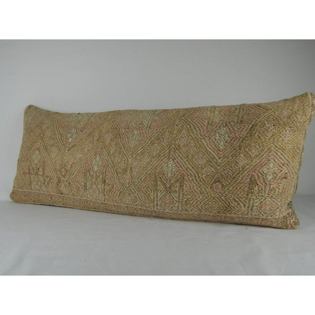 """This beautiful 16"""" x 40"""" pillow cover was made from an authentic, vintage Turkish kilim rug handwoven in the 1970's...."""